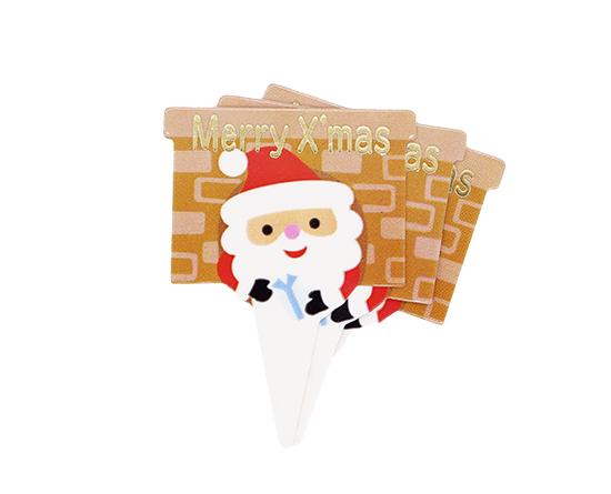クリスマスケーキピック(サンタ) / 1セット(10枚)
