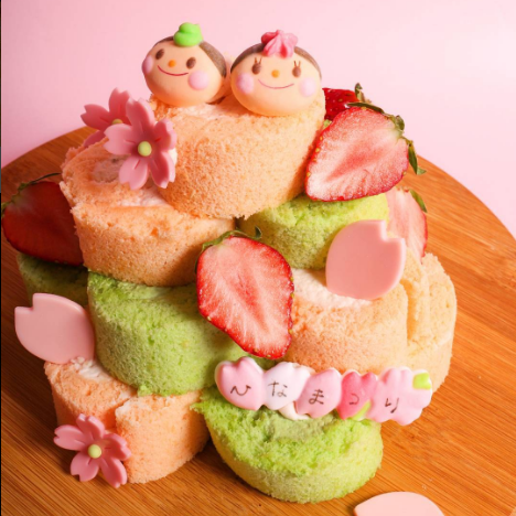 ひなまつりロールタワーケーキ