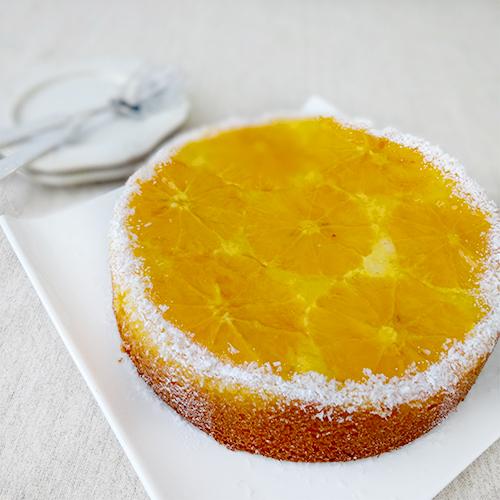 オレンジのアップサイドダウンケーキ