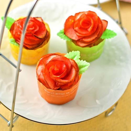 簡単リンゴの薔薇カップケーキ♪