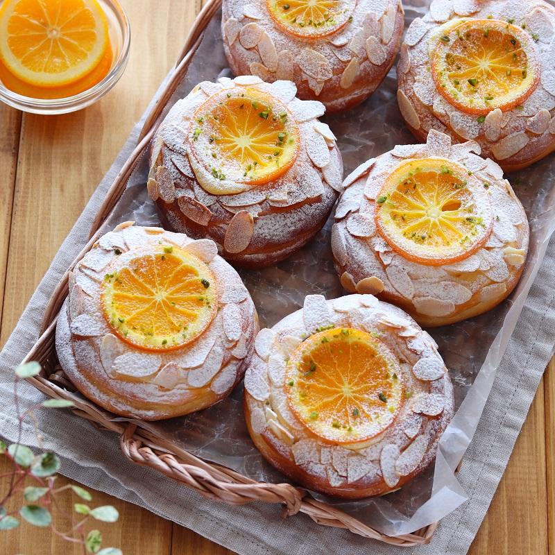 オレンジとカスタードクリームのパン