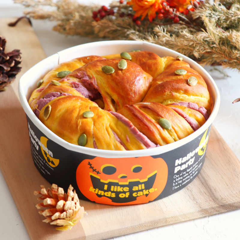 かぼちゃと紫芋のうずまきハロウィンパン
