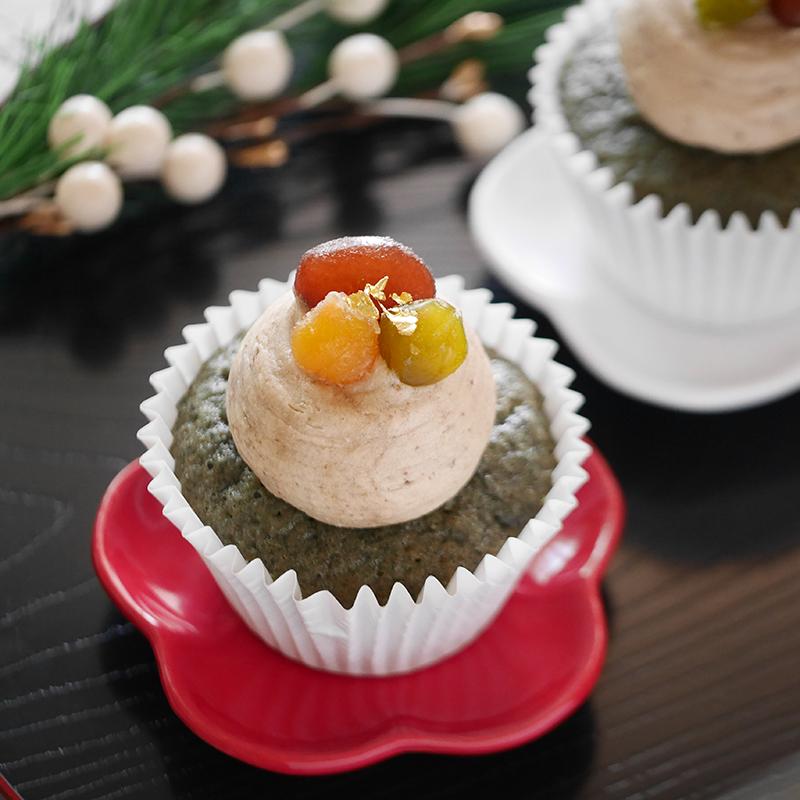 よもぎマフィンと栗あんバターのカップケーキ