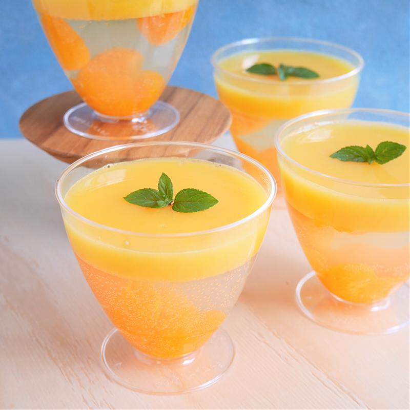 シュワシュワもっちり♪2層のオレンジサイダーゼリー