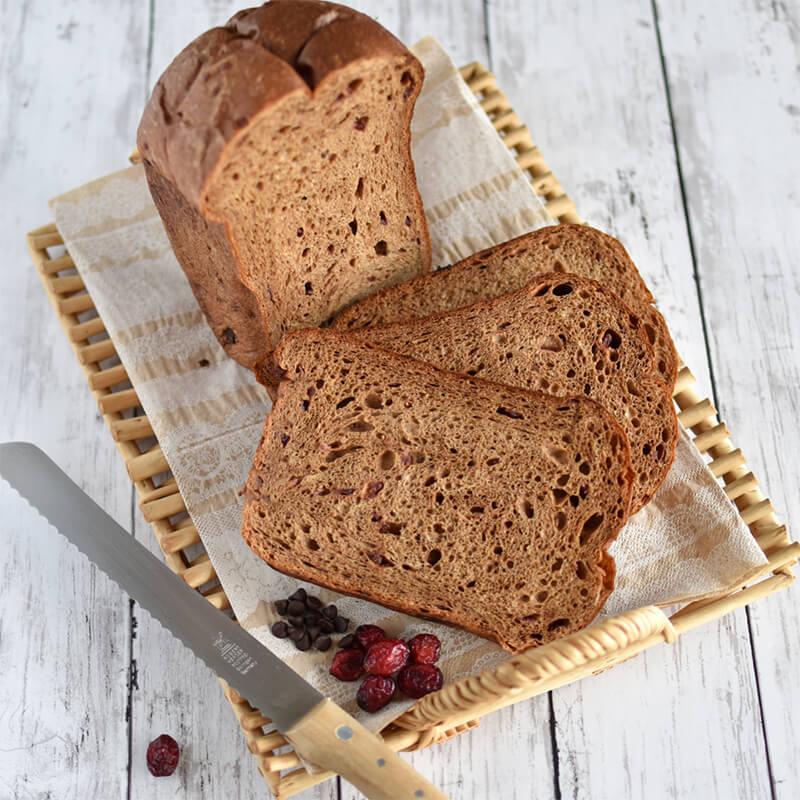 【低糖質レシピ】クランベリーとチョコのふすま食パン HB編