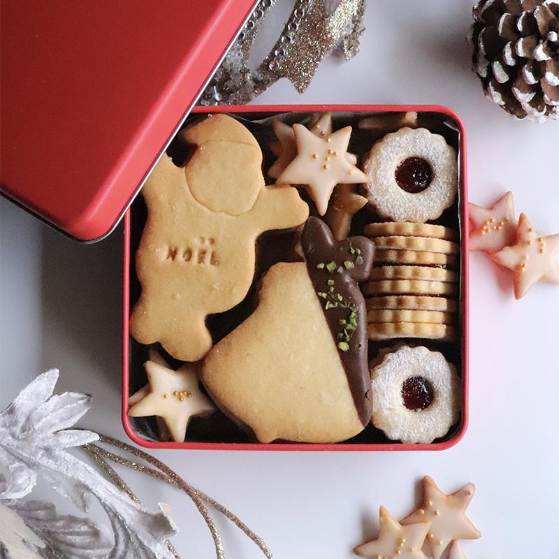 【1つの生地で4種類作る】クリスマスクッキー缶