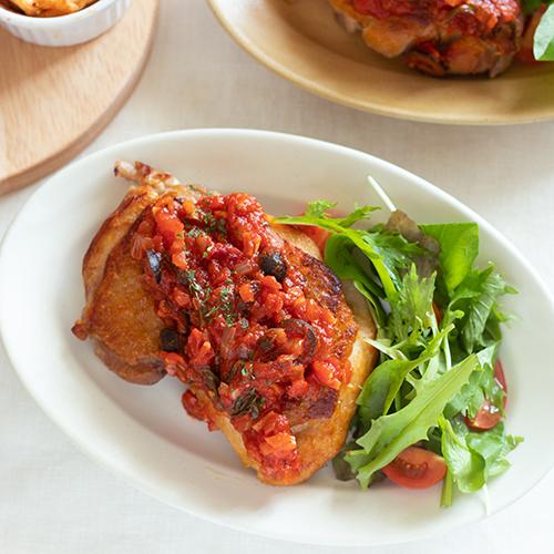 【簡単レシピ】フライパン一つで!トマトソースのチキンソテー